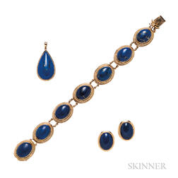 14kt Gold and Lapis Suite