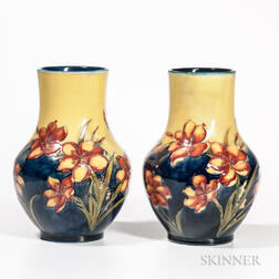 Pair of Moorcroft Pottery Freesia and Mustard Vases