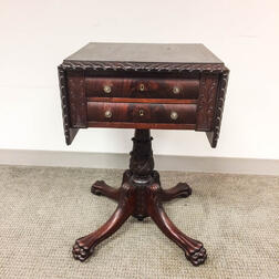 Classical-style Carved Mahogany Two-drawer Worktable