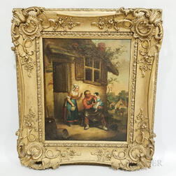 Framed Continental School Oil on Canvas Genre Scene
