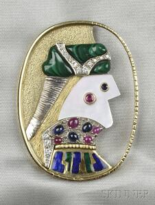 "Artist-designed Gem-set ""O Douce Fantaisie"" Brooch, Max Papart"