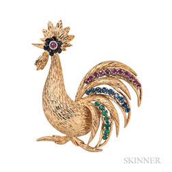 18kt Gold Gem-set Rooster Brooch