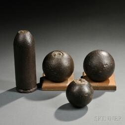Four Civil War Inert Artillery Projectiles