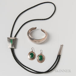 Sterling Silver and Malachite Earrings, a Bolo Tie, and a Sterling Silver Cuff