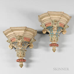 Pair of Neoclassical-style Painted Terra-cotta Architectural Brackets