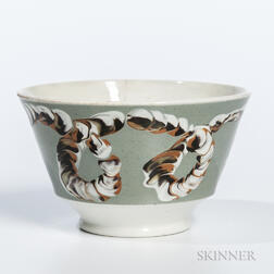 Cable-decorated London-form Pearlware Bowl