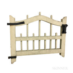 White-painted Pine and Iron Gate Door