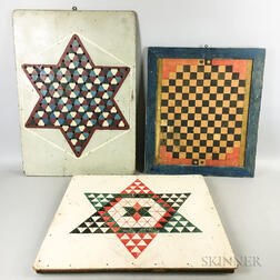 Three Large Polychrome Pine Game Boards