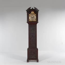 Carved Oak Quarter-hour Chiming Longcase Clock