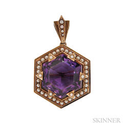 Victorian Gold, Amethyst, and Split Pearl Pendant/Brooch