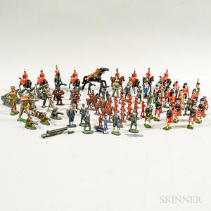Group of Metal Toy Soldiers and Die-cast Vehicles