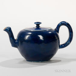 Staffordshire Littler's Blue Decorated Salt-glazed Stoneware Teapot and Cover