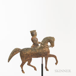 Cast Copper Man on Horseback Weathervane