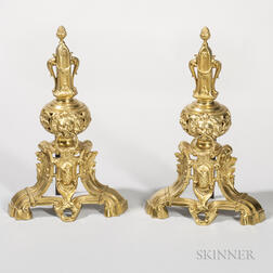 Pair of Brass Urn-form Andirons