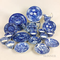 Eighteen Pieces of Staffordshire Blue and White Transfer-decorated Tableware