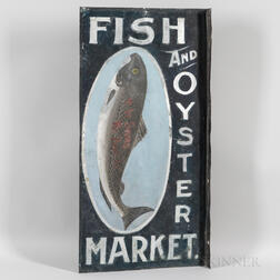 "Painted and Smalted Double-sided Tin ""Fish And Oyster Market"" Sign"