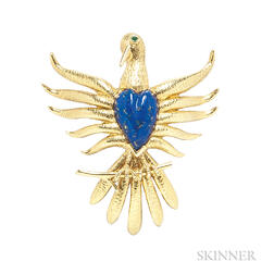 18kt Gold and Lapis Brooch, Schlumberger for Tiffany & Co.