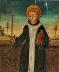 Continental School, 19th Century      Male Saint with a Demon Figure Grasping His Crozier