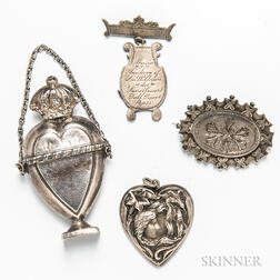 Four Art Nouveau Silver Brooches and Accessories