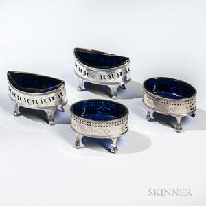 Two Pairs of George III Sterling Silver Salt Cellars