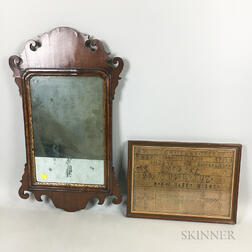 Small Chippendale Scroll-frame Mirror and a Framed Needlework Sampler