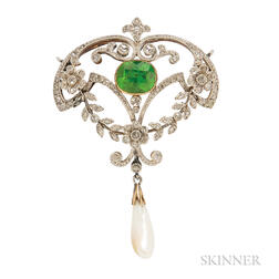 Edwardian Demantoid Garnet and Diamond Brooch