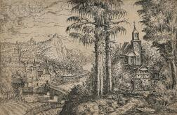 Hans Sebald Lautensack (German, c. 1520-c. 1560)      Two Pines and a Church across from a Rivertown