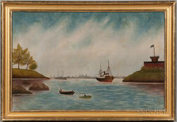 Swedish School, Late 19th Century      Harbor Scene with Tug and Castle
