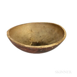 Large Turned and Red-painted Bowl
