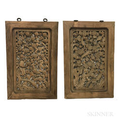 Pair of Openwork Carved Window Panels