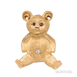 18kt Gold Teddy Bear Brooch