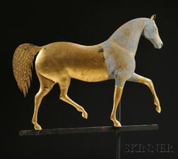 "Howard Gilt Cast Zinc and Molded Copper ""Index"" Horse Weathervane"