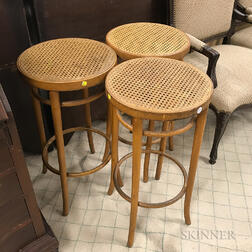 Set of Three Bentwood Bar Stools
