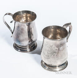 Two George II Sterling Silver Canns