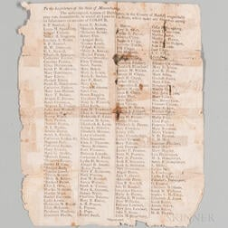 Abolitionist Broadside. To the Legislature of the State of Massachusetts.