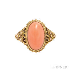 Antique 18kt Gold and Coral Ring, Tiffany & Co.