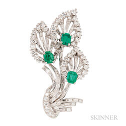Platinum, Emerald, and Diamond Brooch, Tiffany & Co.