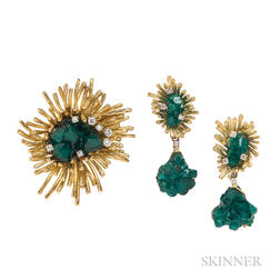 18kt Gold and Synthetic Emerald Suite, Alexander J. Bongiorno