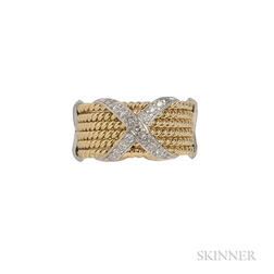 "18kt Gold, Platinum, and Diamond ""Rope Six Row X"" Ring, Schlumberger, Tiffany & Co."