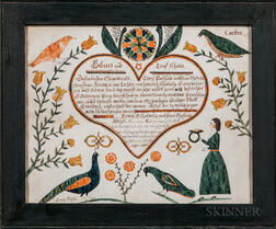 Polychrome Watercolor Baptism Fraktur for Rahel Portzline