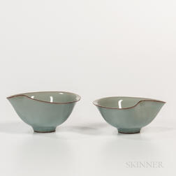 Pair of Kawase Shinobu (b. 1950) Celadon Wine Cups