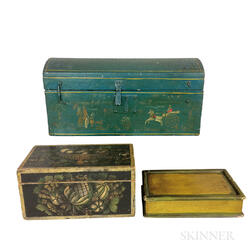 Three Stenciled and Painted Pine and Poplar Boxes