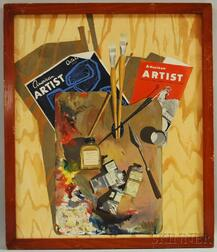Chester D. Heywood (American, 20th Century)      Trompe L'oeil Artist's Palette