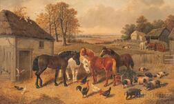 Attributed to John Frederick Herring the Elder (British, 1795-1865)      Horses, Chickens, and Pigs Beside a Barn