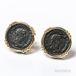 14kt Gold Cuff Links with Roman Profiles