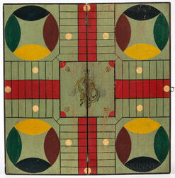 Painted Walnut Folding Parcheesi Game Board