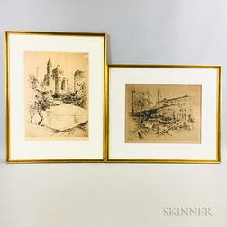 Two Framed Anton Schutz Etchings