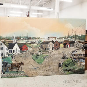 Large Oil on Canvas Mural Depicting Mystic Seaport