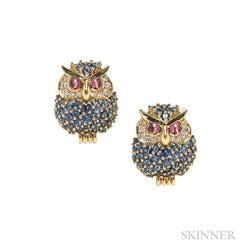 18kt Gold Gem-set Owl Earclips, Jean Vitau