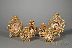 Six Small Giltwood-framed German Painted Porcelain Plaques